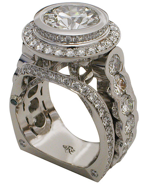 Platinum Round Brilliant Diamond Halo Ring