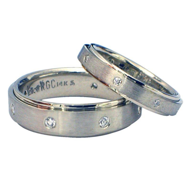 14kt white gold his hers diamond wedding bands - His Hers Wedding Rings