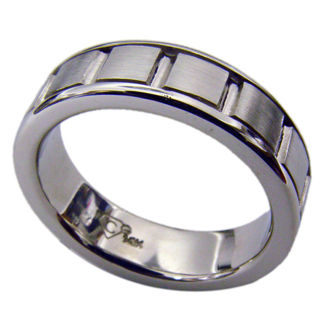 14kt White Gold Mens Wedding Band by RGC