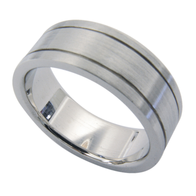 14kt White Gold Pipe Cut Mens Wedding Band by RGC