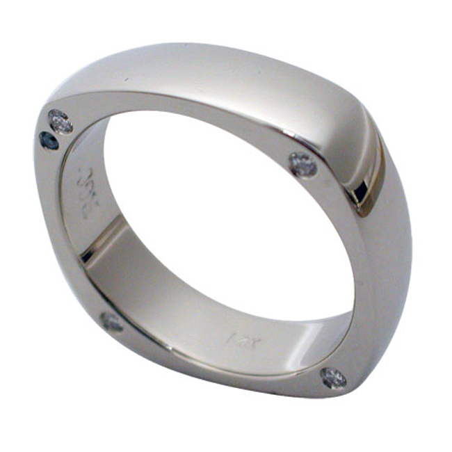 14kt White Gold Round Brilliant Diamond Square Mens Wedding Ring