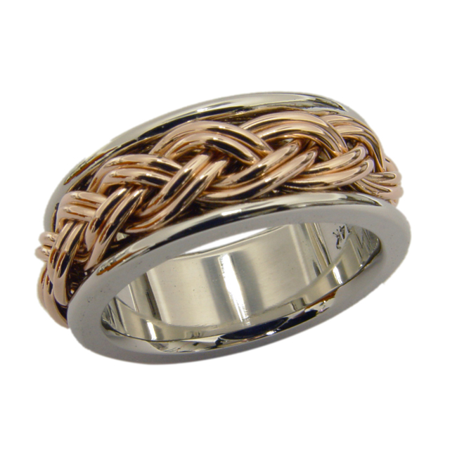 14kt White Yellow Gold Braided Mens Wedding Band By RGC