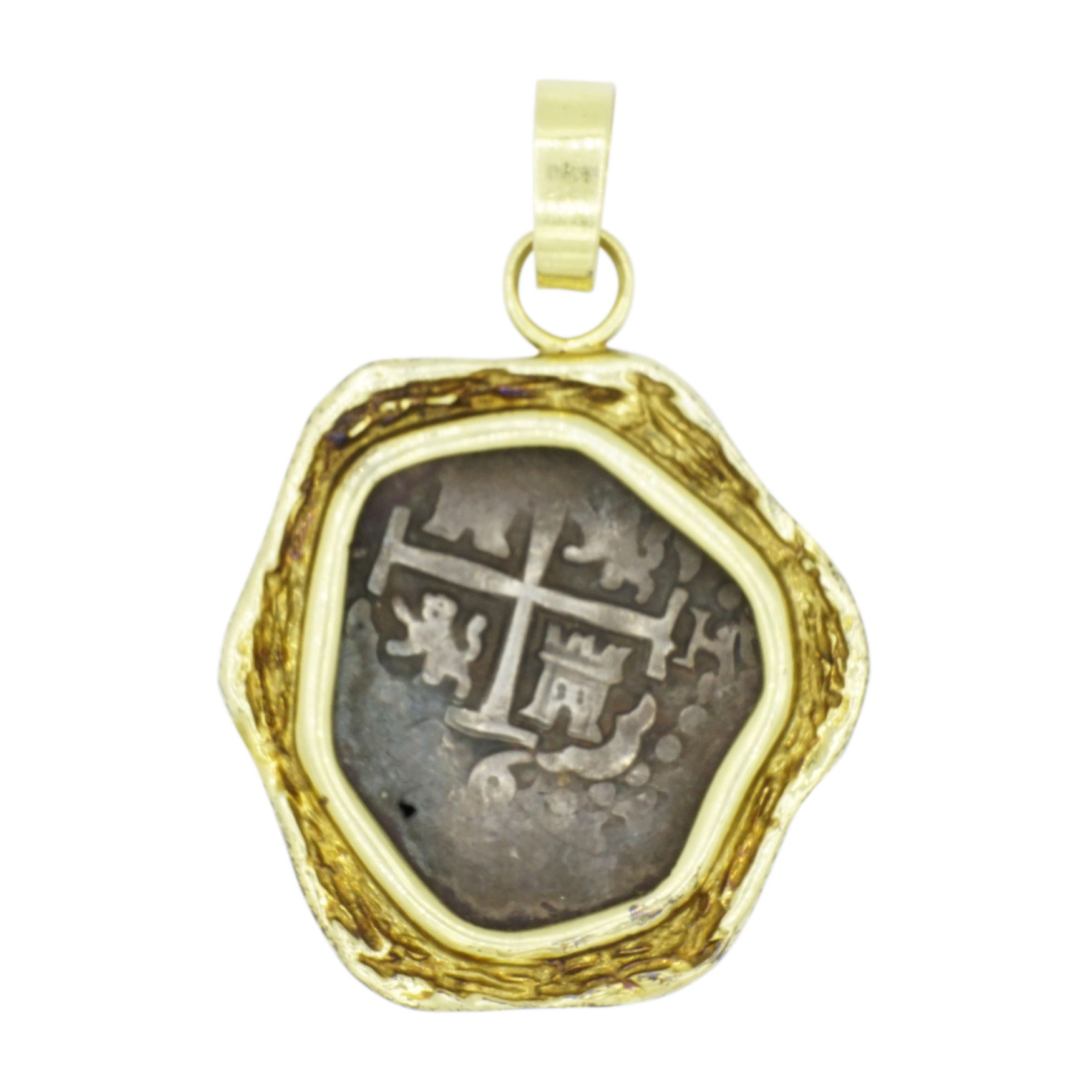14kt Yellow Gold and Silver Coin Pendant
