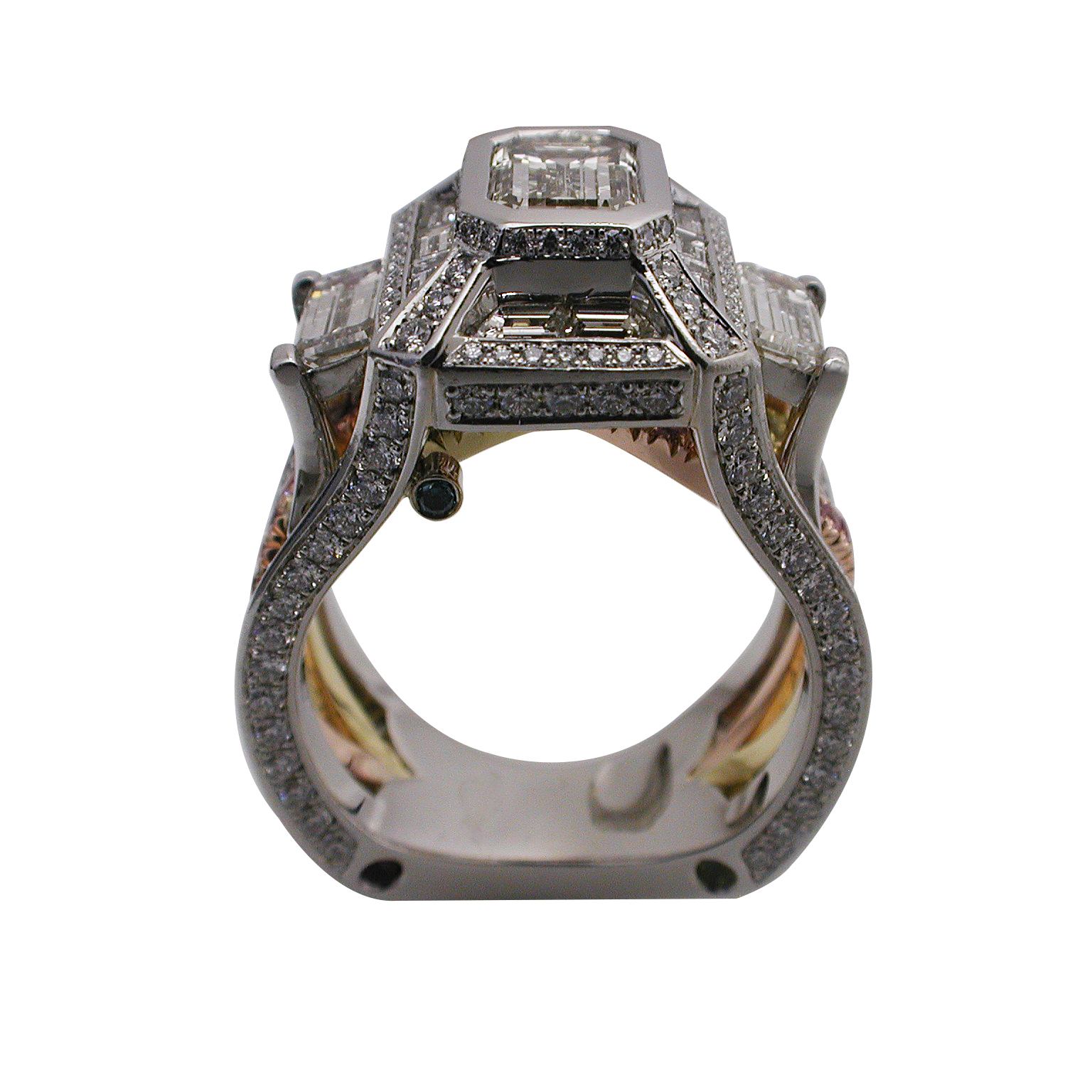 Platinum and 18kt Rose & Yellow Gold Emerald Cut Engagement Ring - Front View