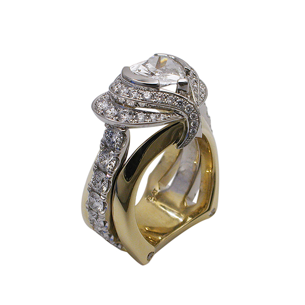 Platinum and Yellow Gold Heart Diamond Ring - Angle View