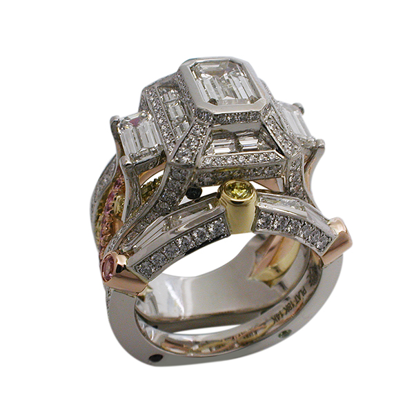 Platinum and 18kt Rose & Yellow Gold Emerald Cut Engagement Ring - View with matching Wedding Band
