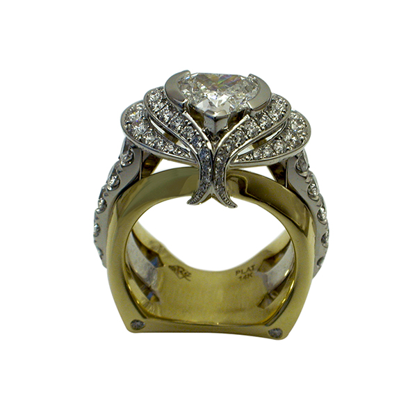 Platinum and Yellow Gold Heart Diamond Ring - Front View