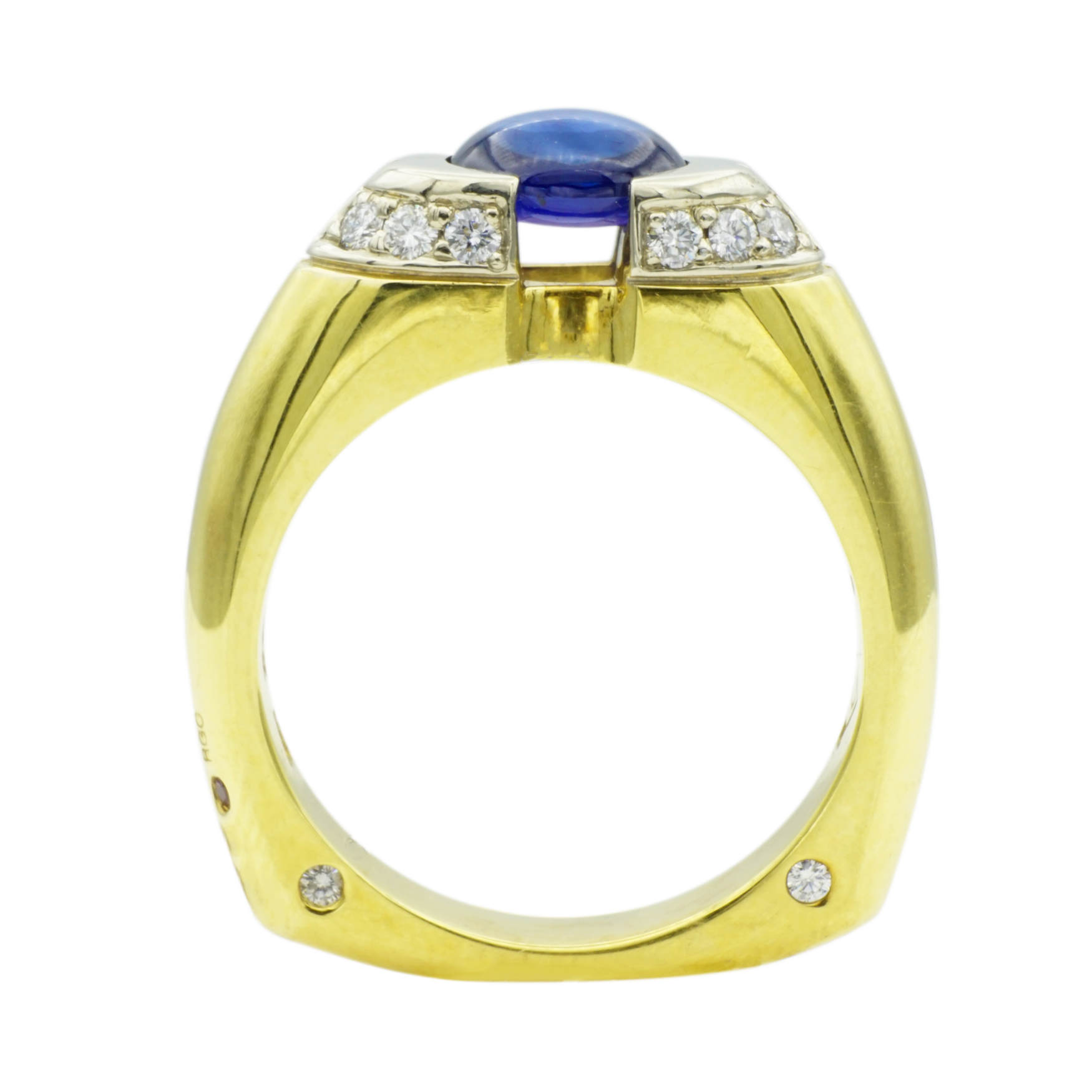 Platinum & Yellow Gold Sapphire Men's Ring by RGC - Front View