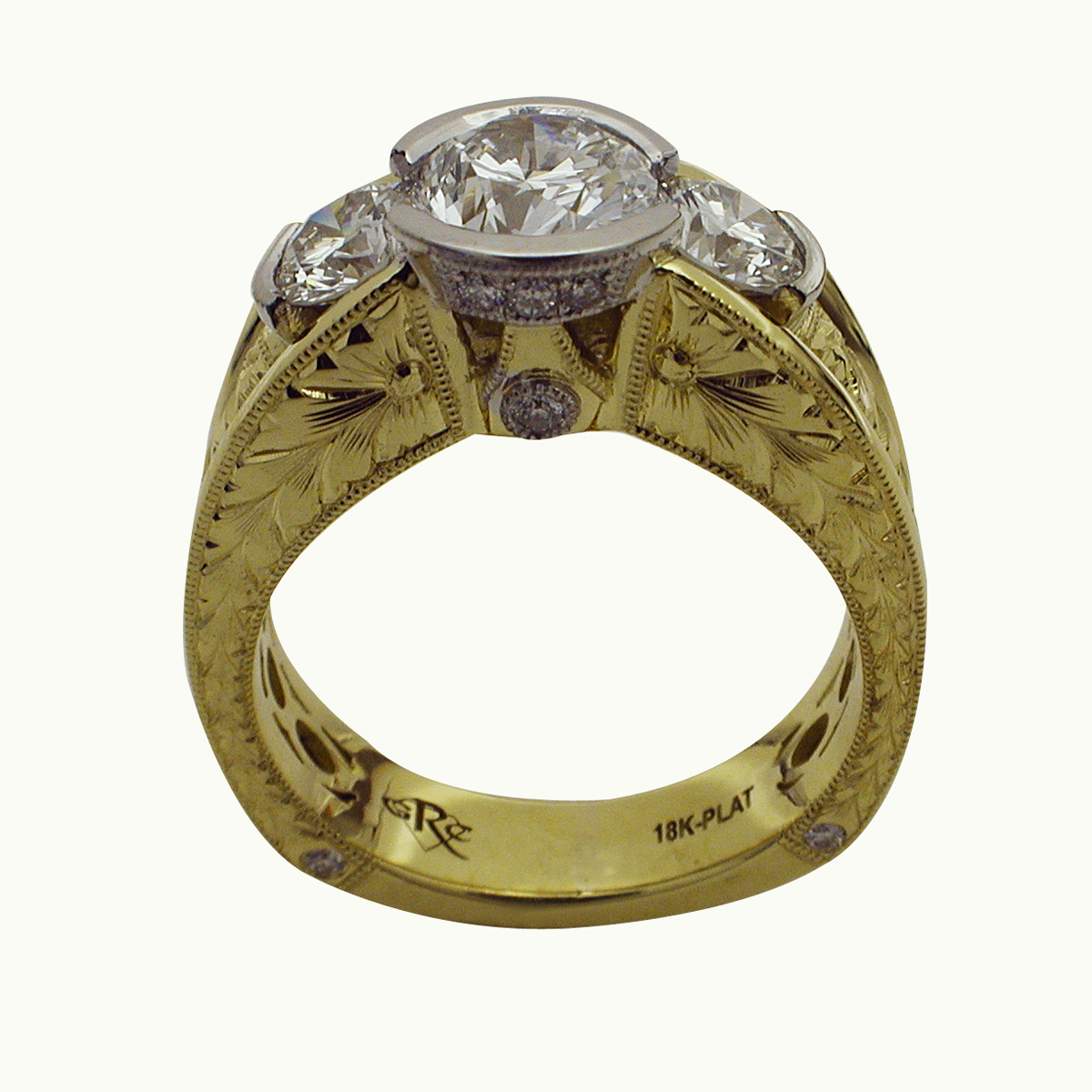 18kt Yellow Gold & Platinum Three Stone Round Brilliant Diamond Ring - Front View