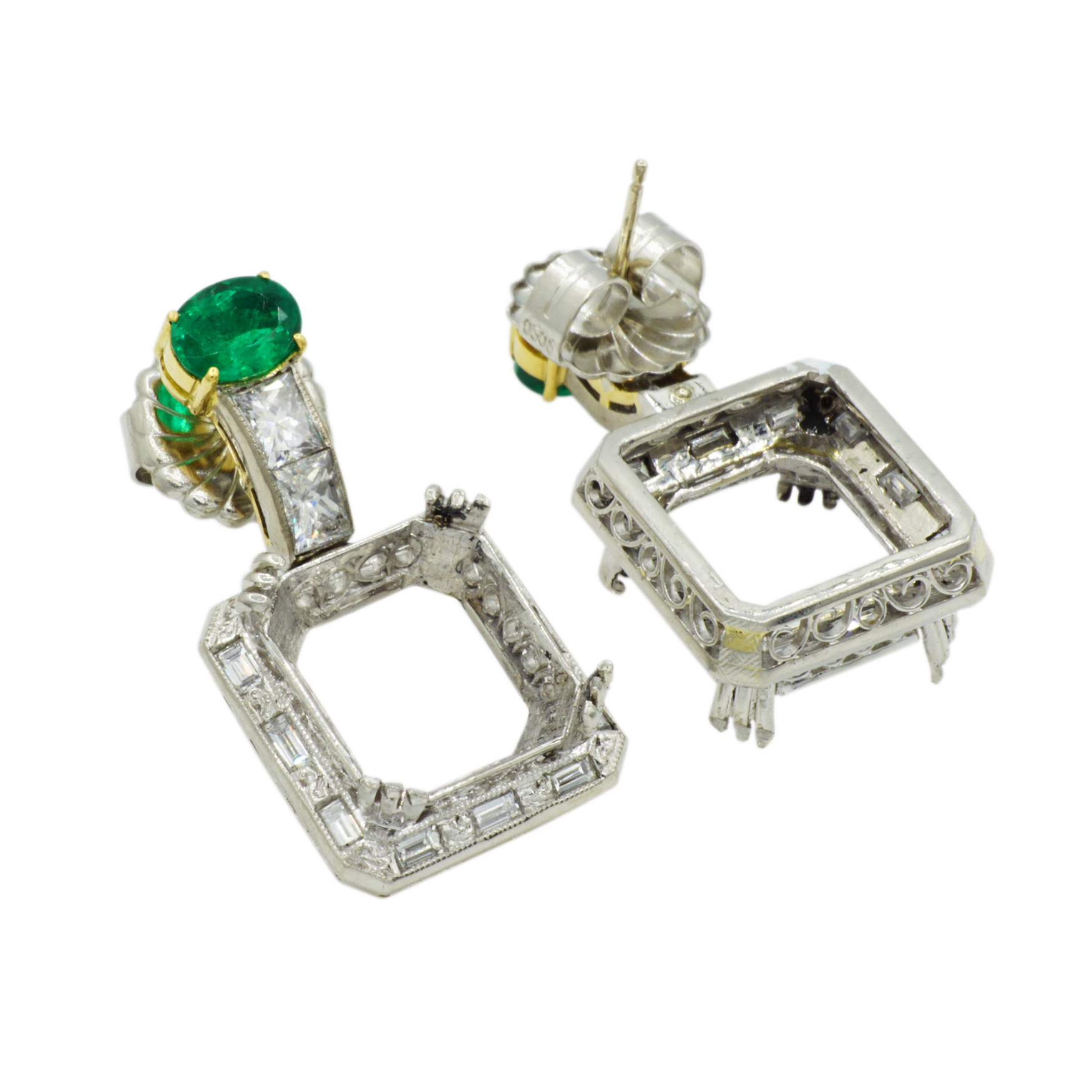 Platinum Emerald & Diamond Earring Semi-Mounting - Front and Back Profile Views