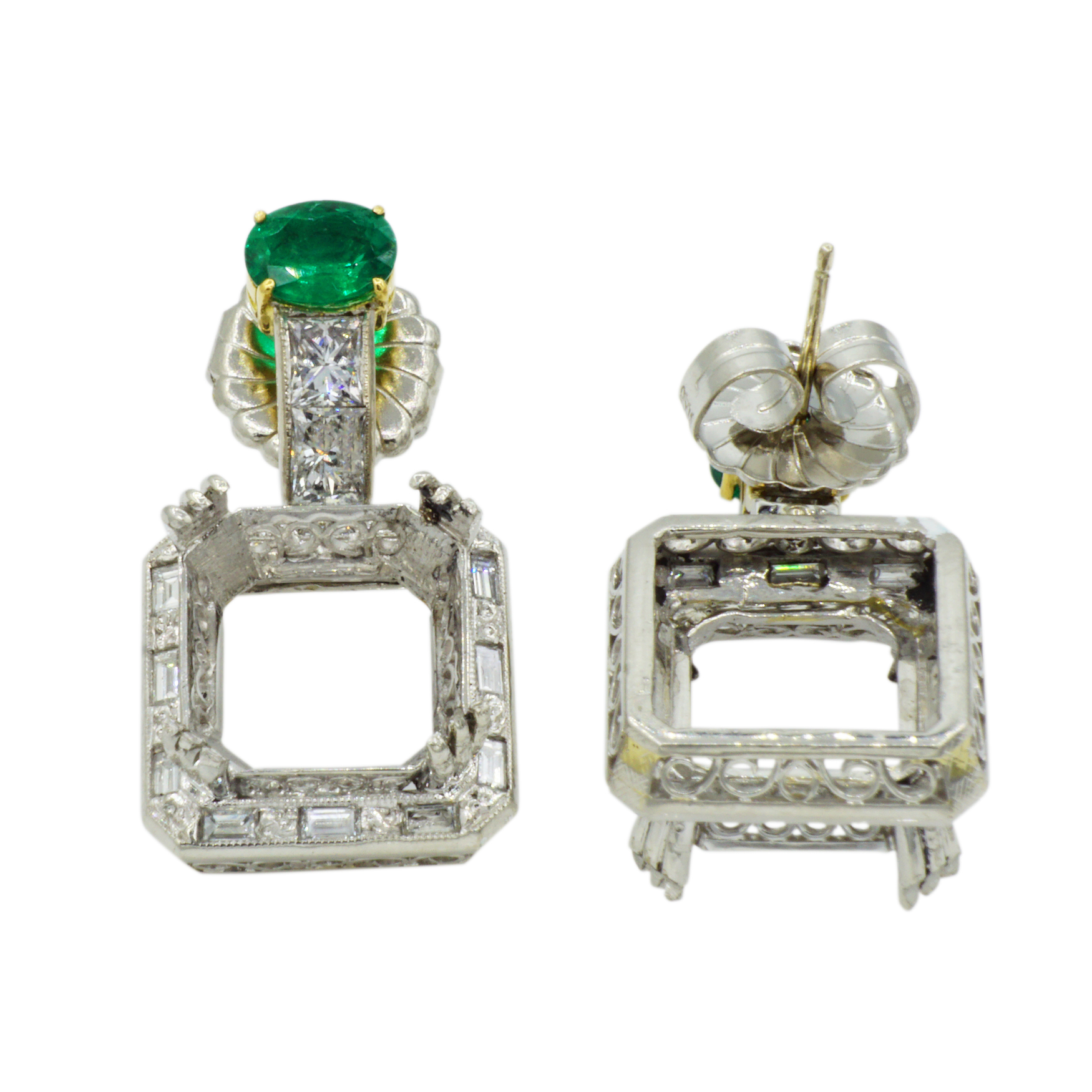 Platinum Emerald & Diamond Earring Semi-Mounting - Front and Back View