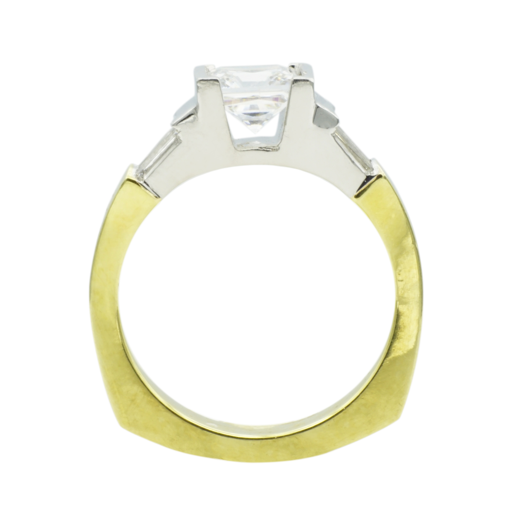 Princess Cut & Baguette Diamond Platinum & 18k Yellow Gold Engagement Ring - Front View