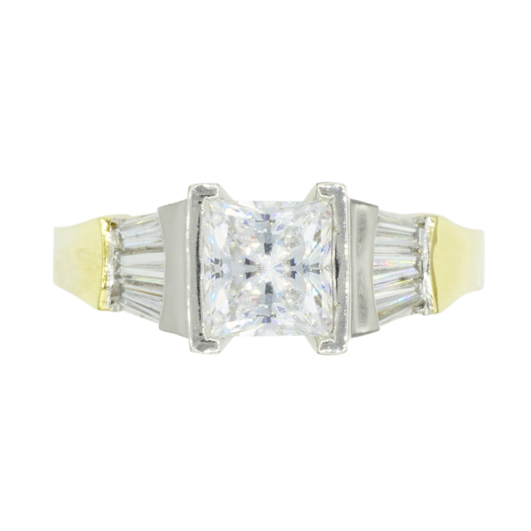 Princess Cut & Baguette Diamond Platinum & 18k Yellow Gold Engagement Ring - Top View