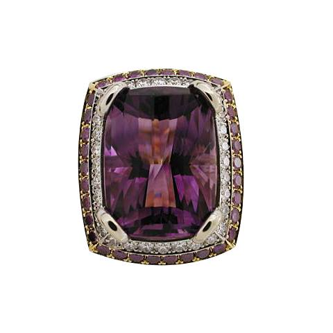 18k Yellow Gold Platinum Purple and White Diamond Amethyst Ring -top view