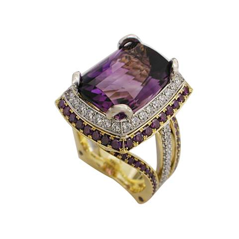18k Yellow Gold Platinum Purple and White Diamond Amethyst Ring by RGC