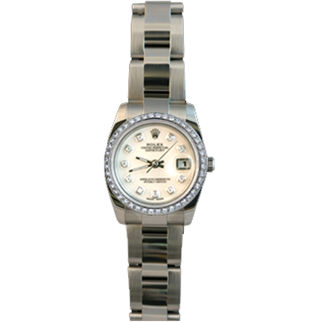 Ladies' Stainless Steel & 14kt White Gold and Diamond DateJust Rolex Watch