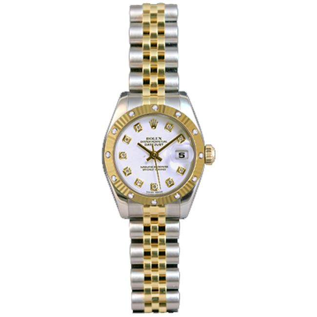 Ladies' Stainless Steel & 18kt Yellow Gold Diamond DateJust Rolex Watch