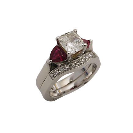 Platinum Cushion Cut Diamond Ruby Wedding Set