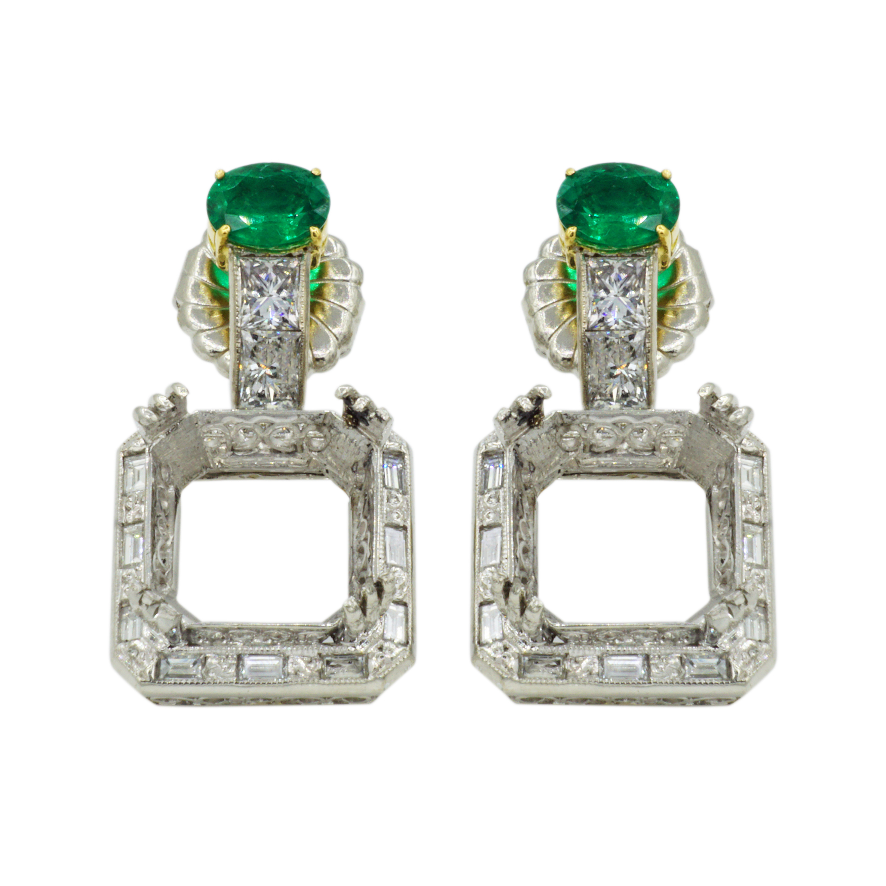 Platinum Emerald & Diamond Earring Semi-Mounting - Dual Front Views