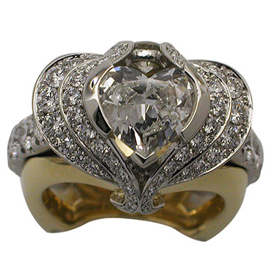 Platinum and Yellow Gold Heart Diamond Ring by RGC - Top view