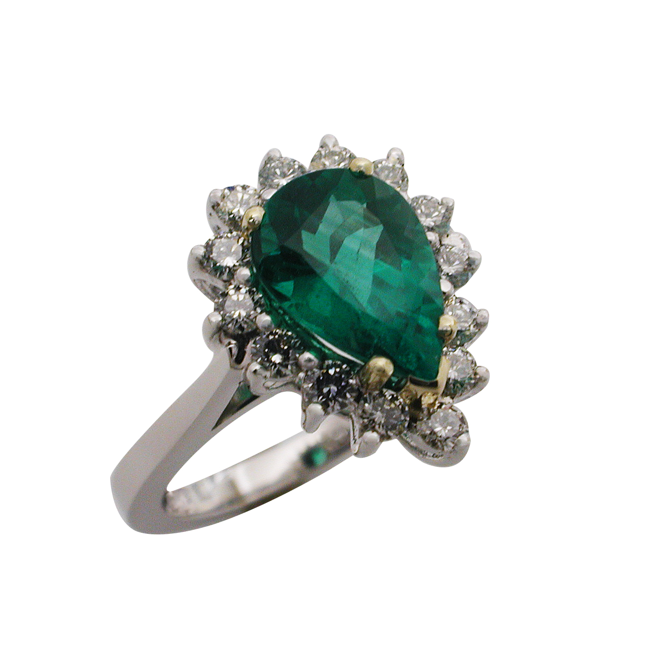 Platinum & Yellow Gold Pear Emerald and Diamond Ring