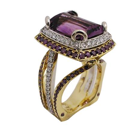 18k Yellow Gold Platinum Purple and White Diamond Amethyst Ring - profile view