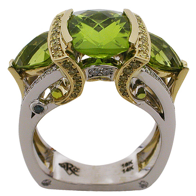 14kt White 18kt Yellow Gold Peridot Ring Rock N Gold Creations