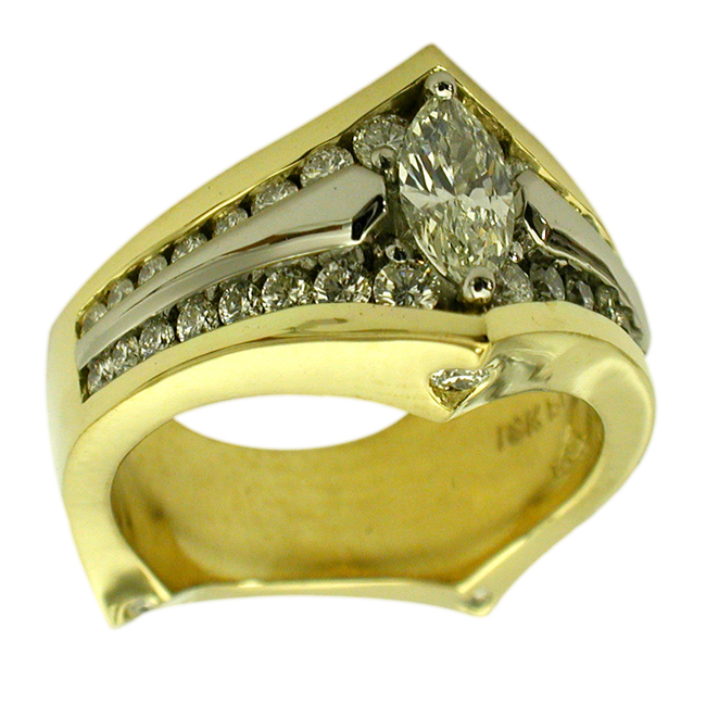 Yellow Gold & Platinum Marquis Cut Diamond Ring