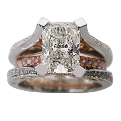 Platinum & 18kt Rose Gold Radiant Cut Diamond Ring - Top View