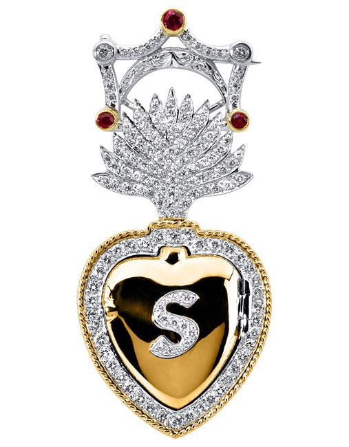 Platinum & 18kt Yellow Gold Burning Heart Pendant by RGC