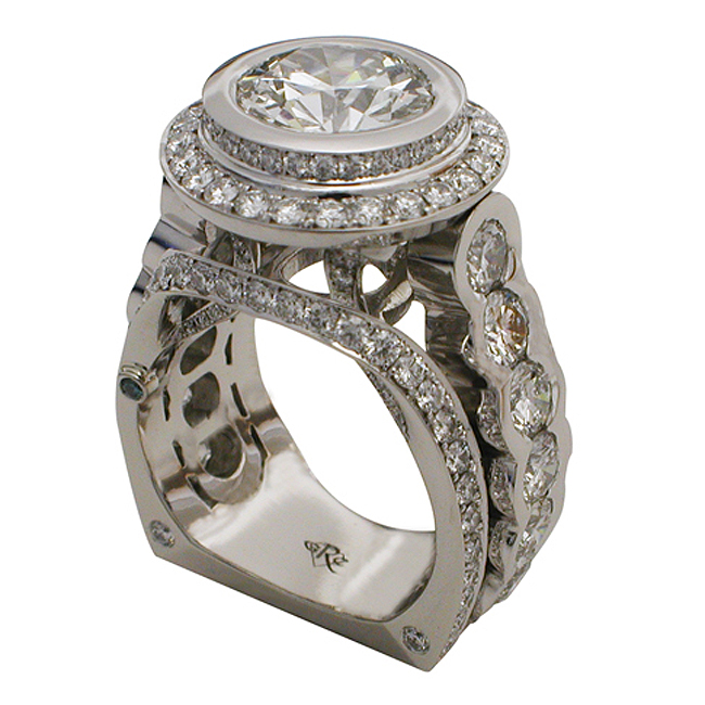 Platinum Round Brilliant Diamond Halo Ring by RGC