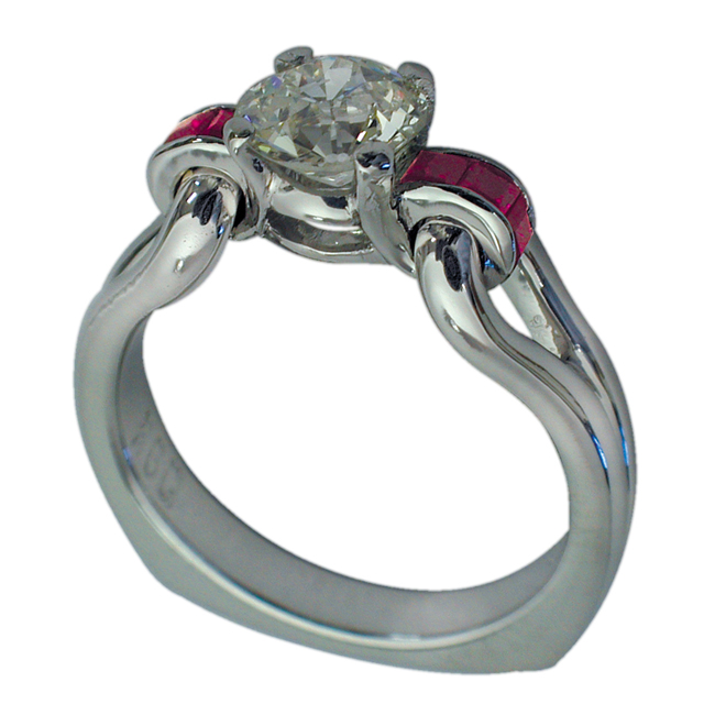 Platinum Round Brilliant Diamond & Princess Cut Ruby Ring