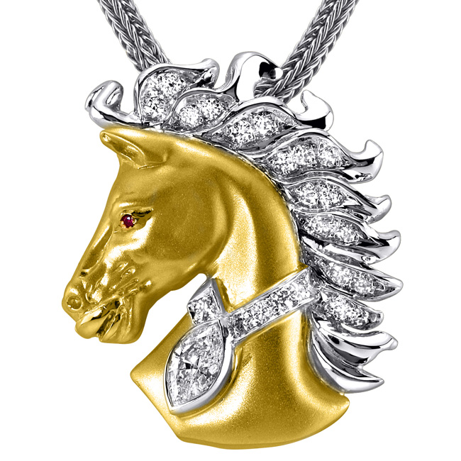 14kt Two-Tone Gold Diamond Horse Pendant by RGC
