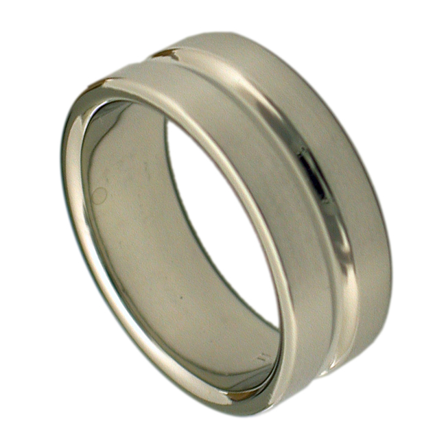 14kt White Gold Groove Mens Wedding Band by RGC
