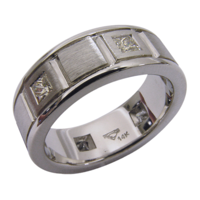 14kt White Gold Princess Cut Diamond Mens Wedding Band by RGC
