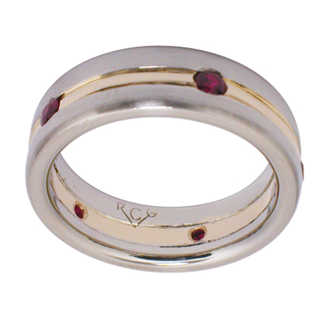 14kt White & Yellow Gold Ruby Mens Wedding Band by RGC