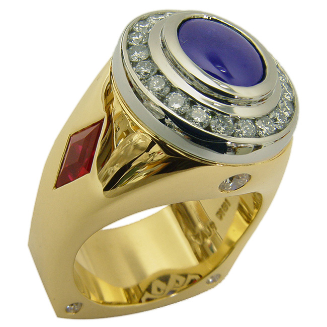 Yellow Gold & Platinum Sapphire Men's Ring by RGC
