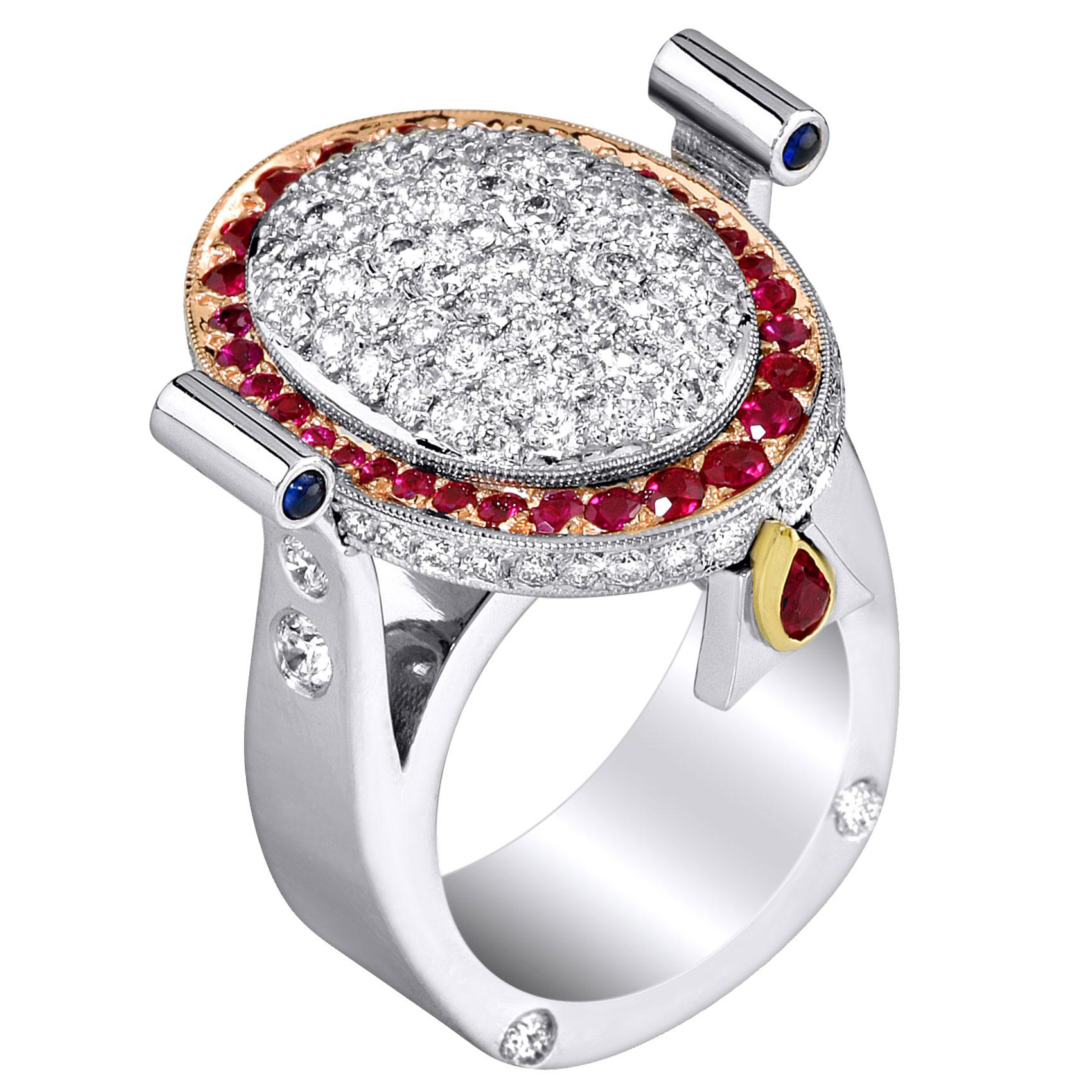 Platinum 18kt Rose Yellow Gold Diamond Ring