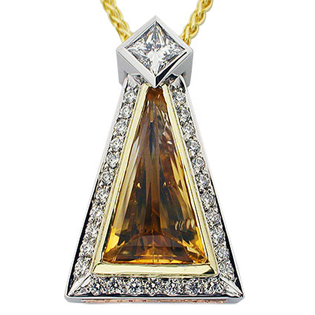 Platinum, 18kt Yellow Gold Citrine Pendant by RGC