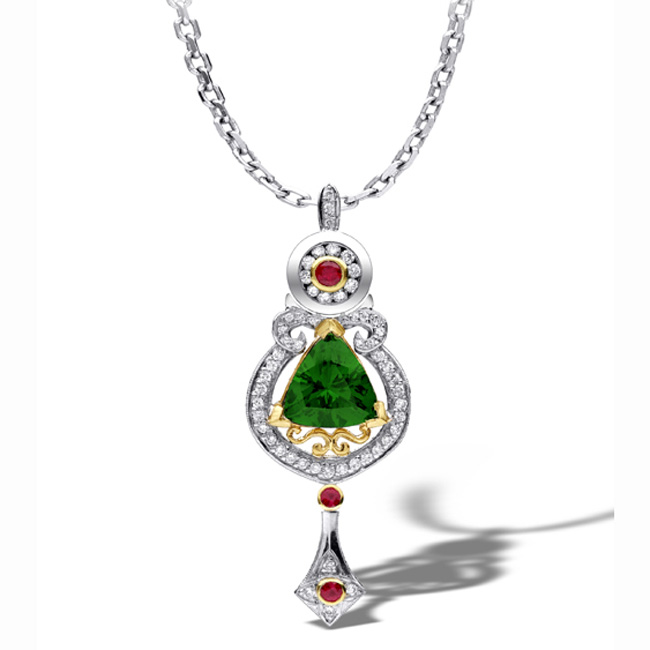 platinum-18kt-yellow-gold-green-tsavorite-pendant-by-rgc