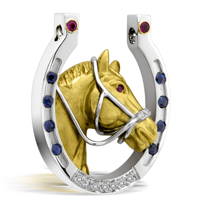 Platinum & 18kt Yellow Gold Horse Shoe Pendant by RGC