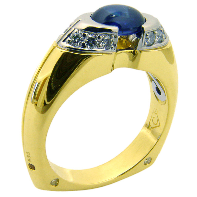 Platinum & Yellow Gold Sapphire Men's Ring by RGC