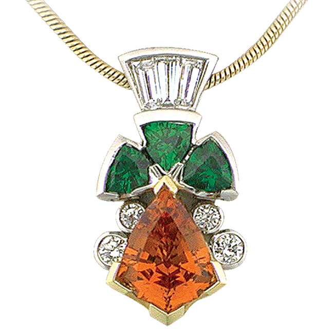Platinum & 18kt Yellow Gold Spessartite Pendant by RGC