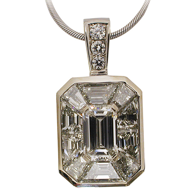 Platinum Emerald Cut Diamond Pendant by RGC