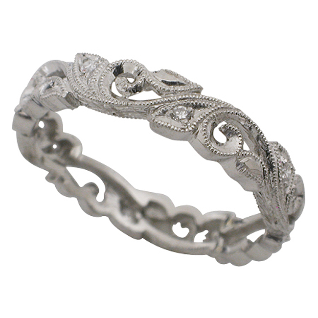 Platinum Round Brilliant Diamond Filigree Band