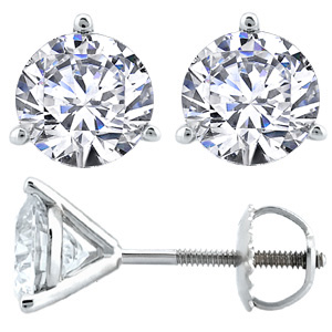 Round Brilliant Cut Diamond Stud Earrings by Rock N Gold Creations