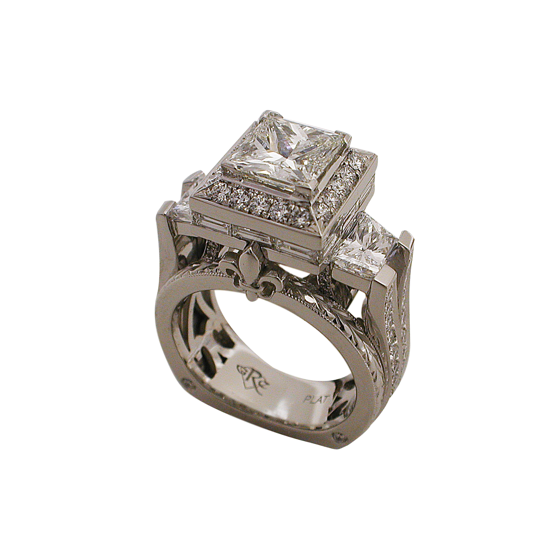 Platinum Princess Cut & Trapezoid Cut Diamond Ring - Angle View