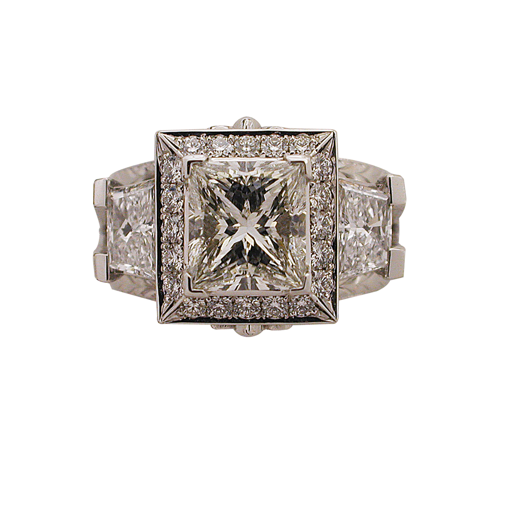 Platinum Princess Cut & Trapezoid Cut Diamond Ring - Top View