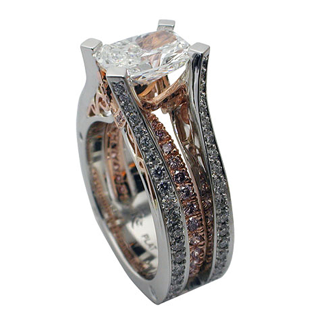 Platinum & 18kt Rose Gold Radiant Cut Diamond Ring - Side View