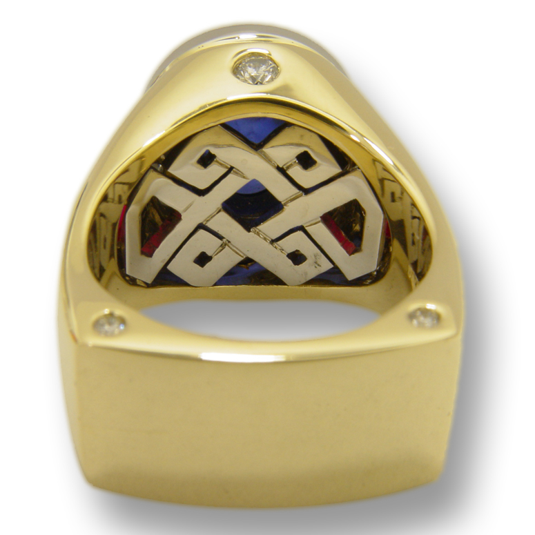 Yellow Gold & Platinum Sapphire Men's Ring by RGC - Under Gallery View